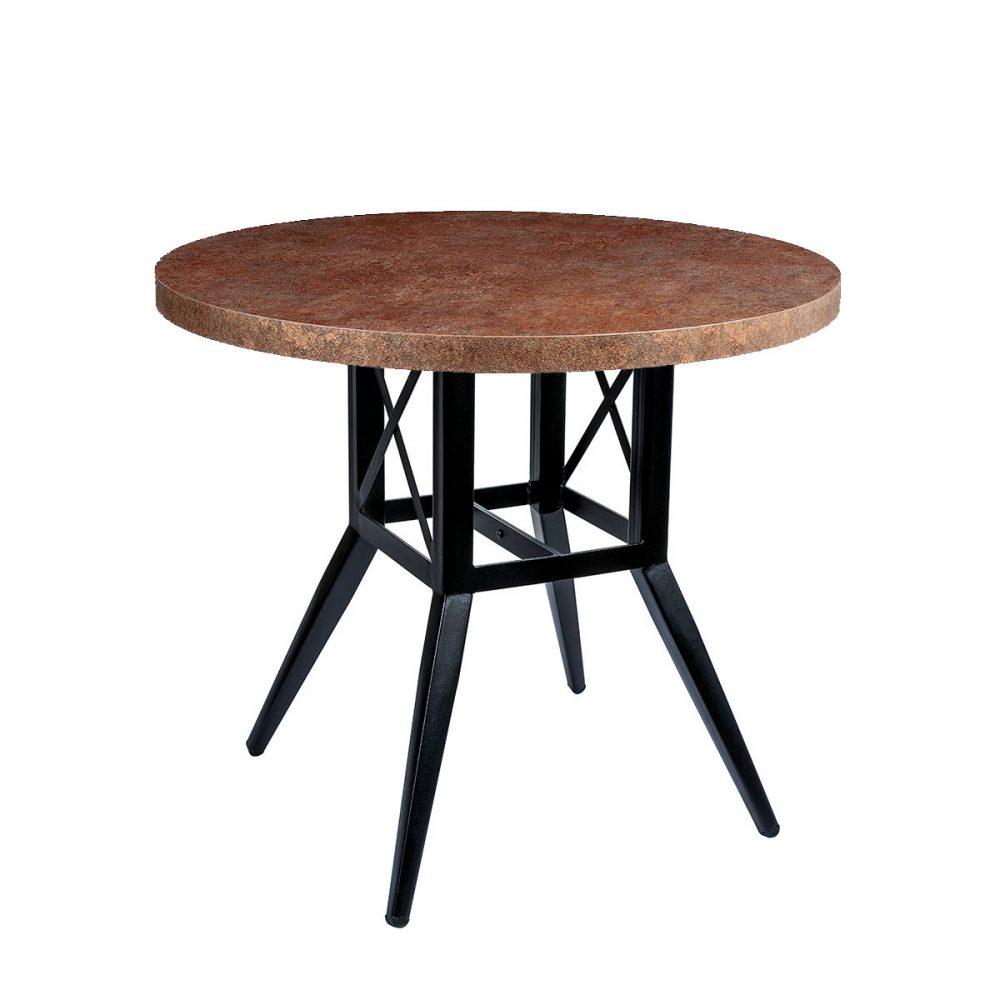mesa bering con tablero redondo melamina bronce