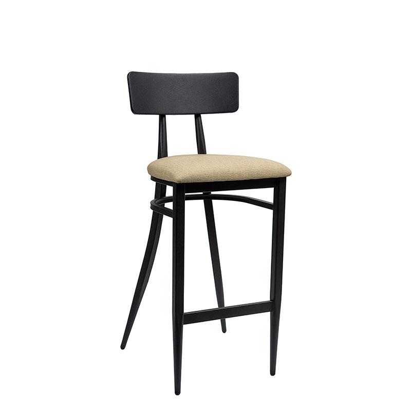 banqueta montana negro con asiento tapizado sandalo REYMA