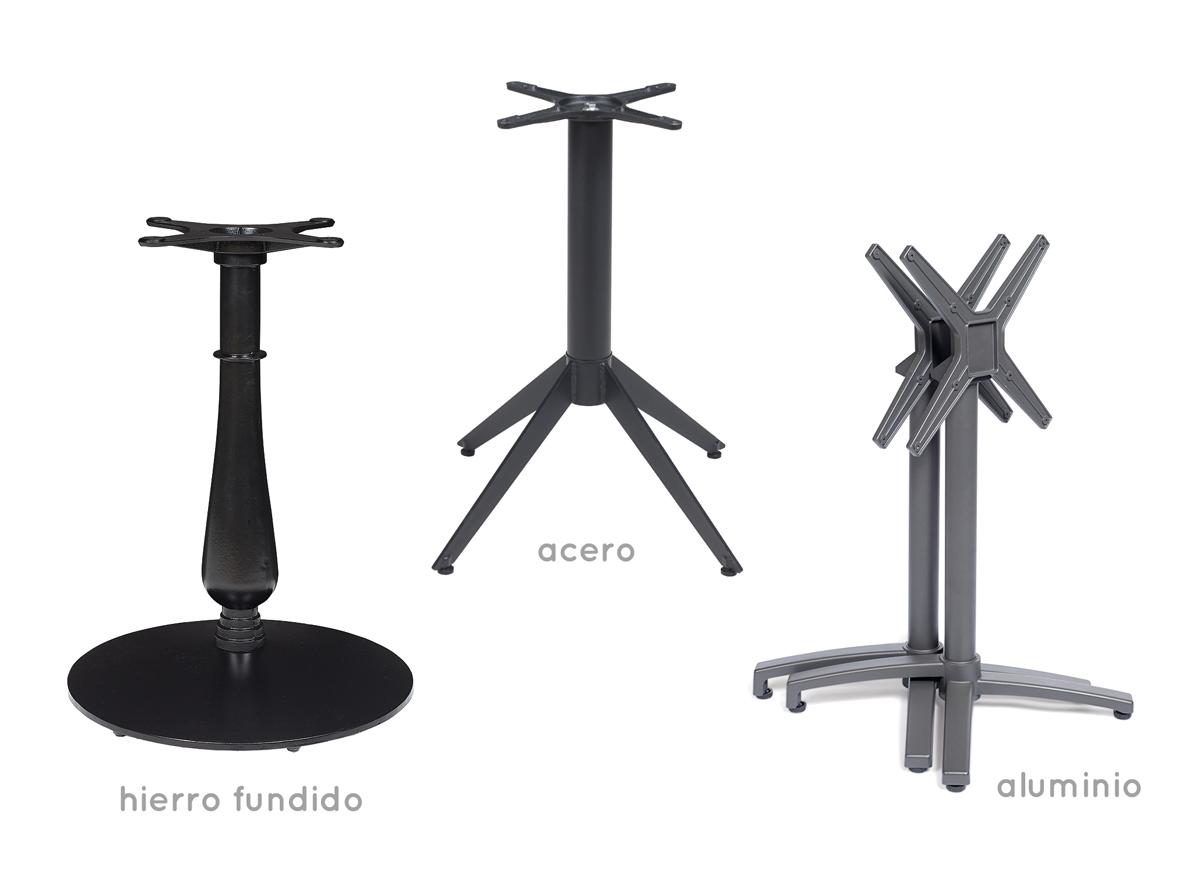 pies metálicos para mesas en acero, hierro o aluminio