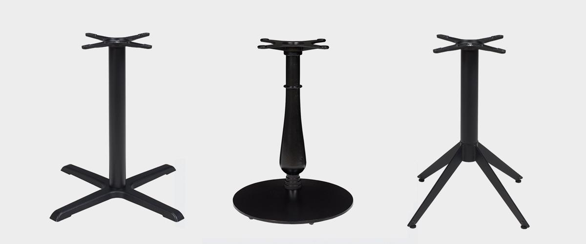 pies de mesa en hierro fundido o acero