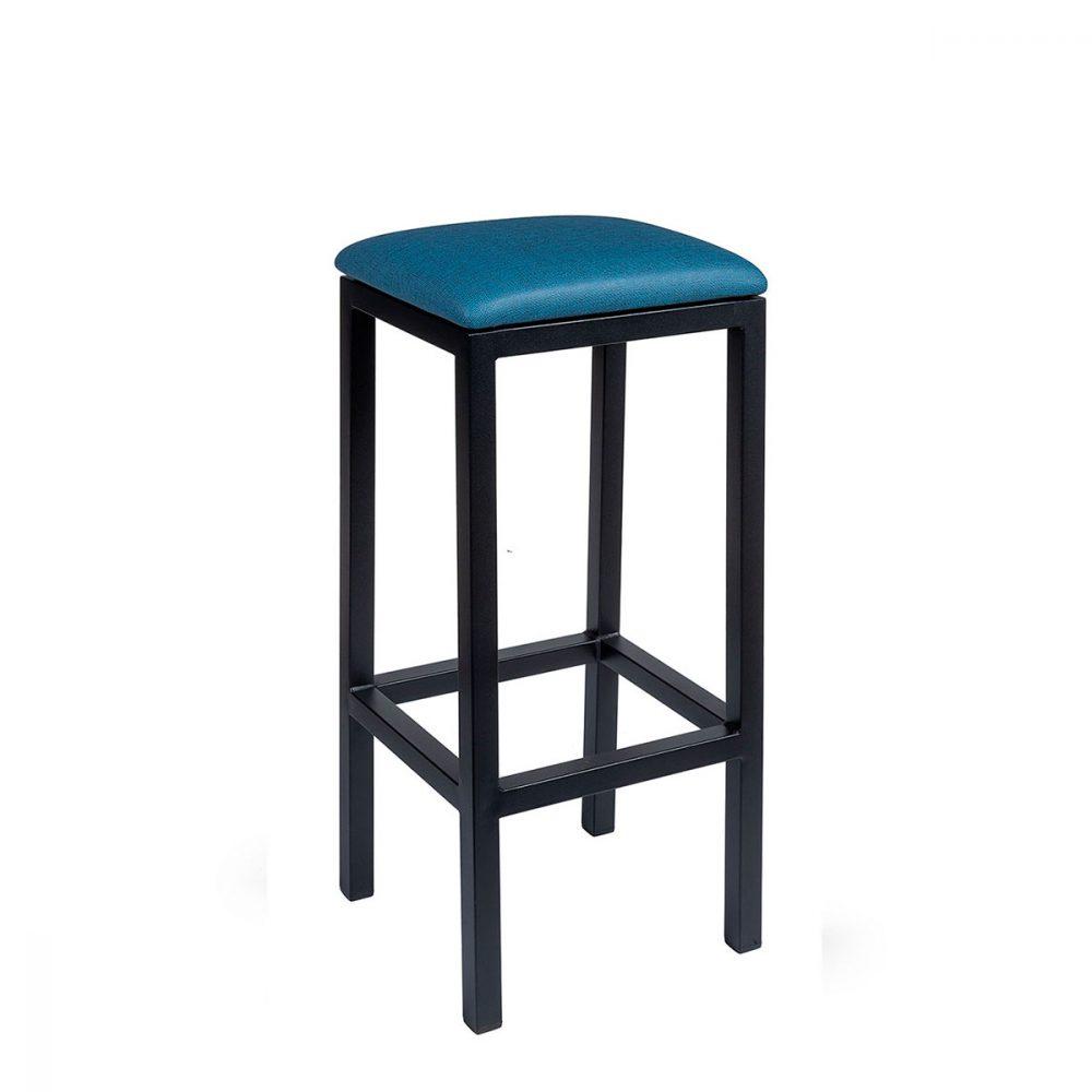 Banqueta mónaco plus pintada negro tapizado azul