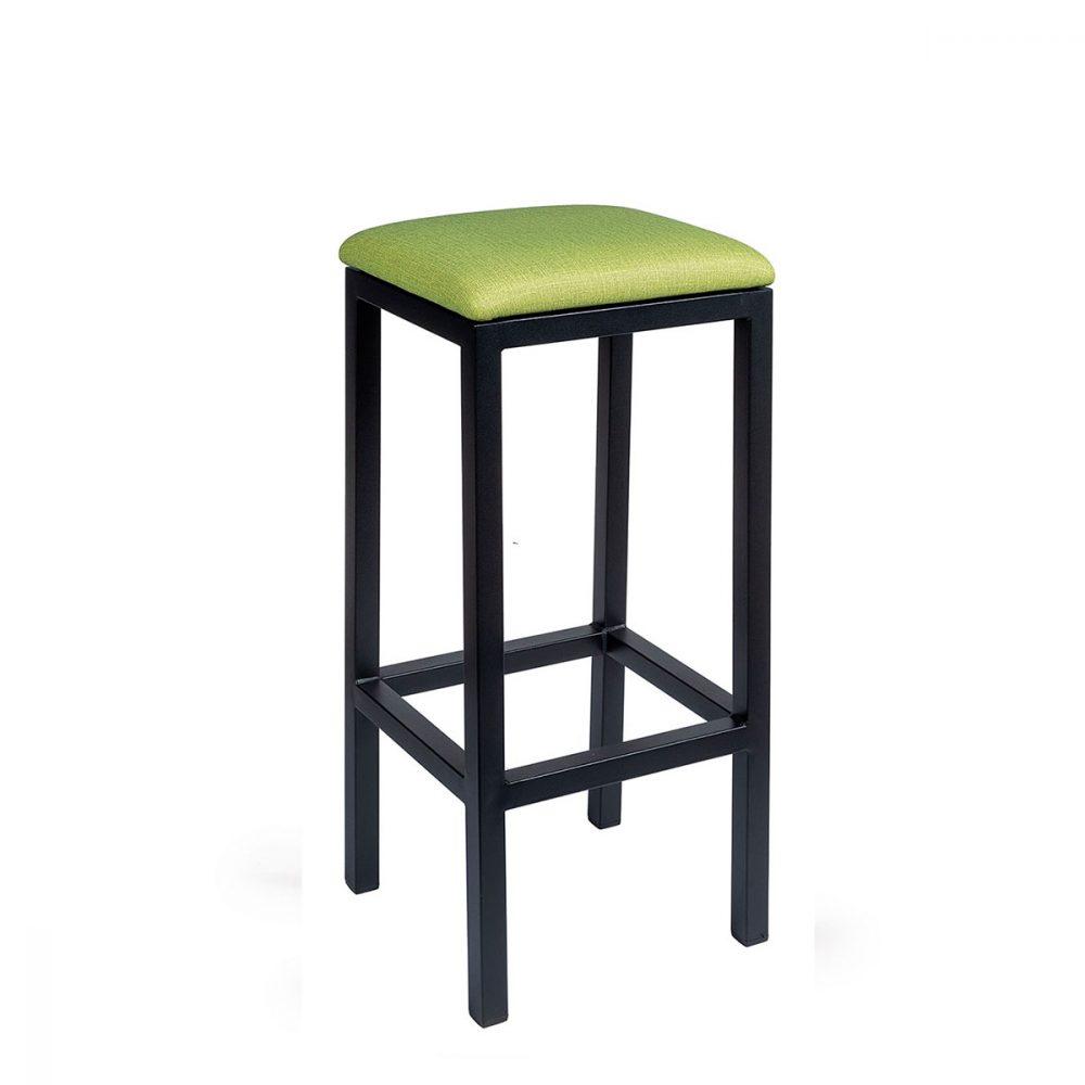 Banqueta mónaco plus pintada negro tapizado verde