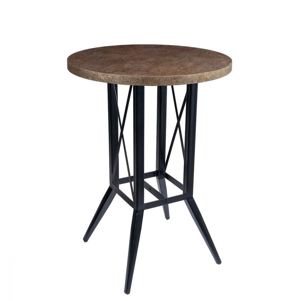 mesa bering alta con tablero redondo bronce