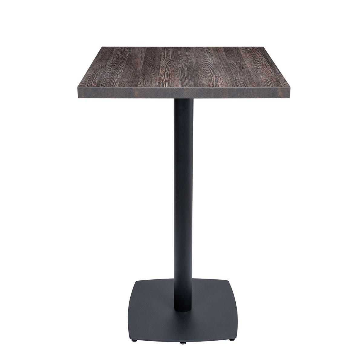 mesa hanover alta con base negra y tablero egger ebano REYMA