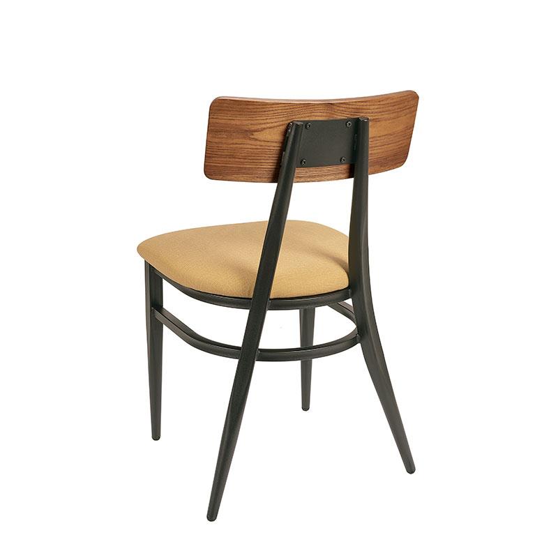 silla montana respaldo madera con asiento tapizado mostaza trasera REYMA